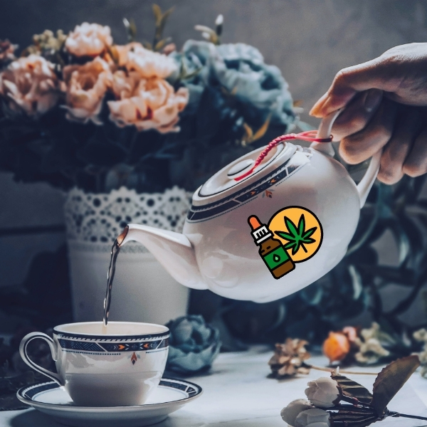 Infused CBD tea being poured into your tea cup