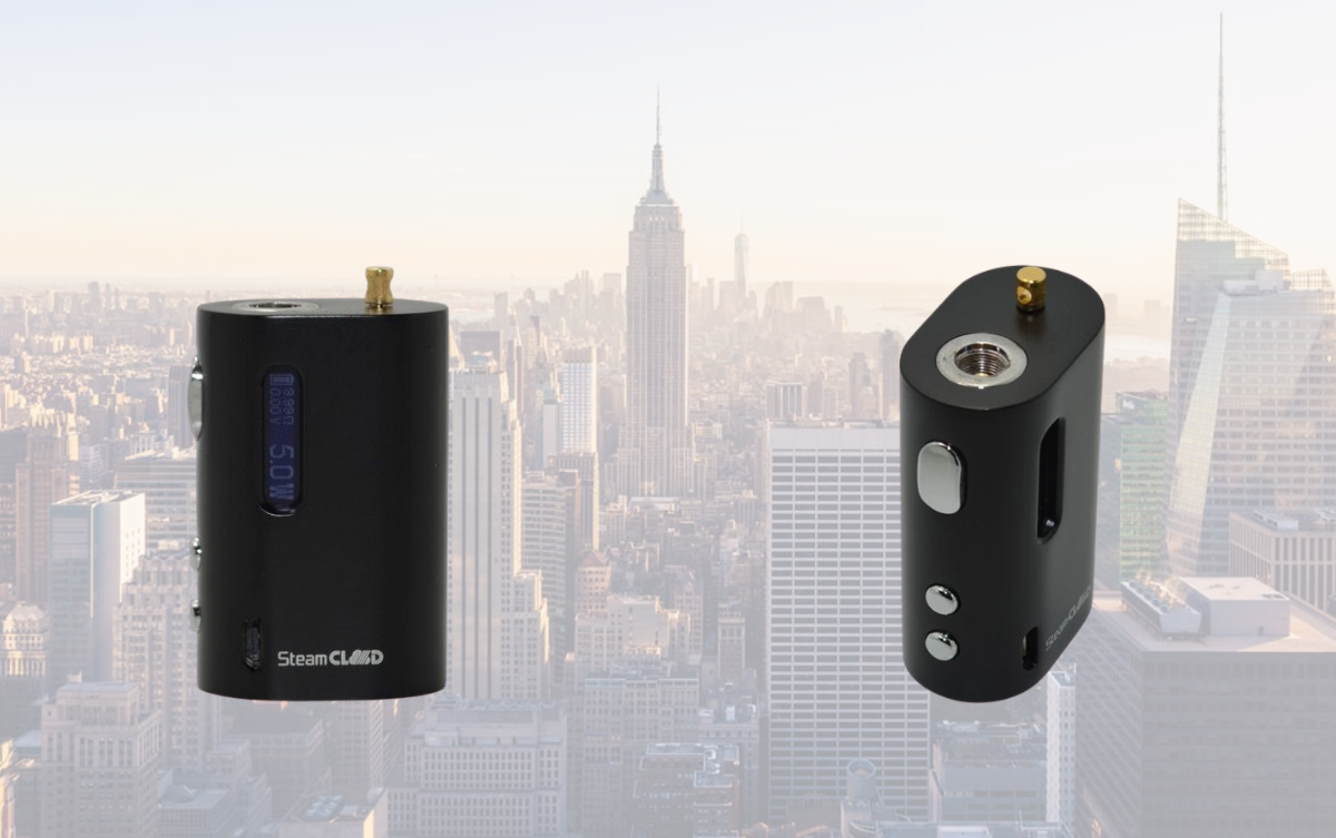 Two steamclound box mod vape with nyc background