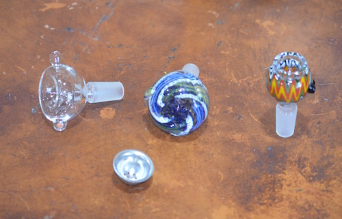 glass-and-metal-bong-bowls-on-table