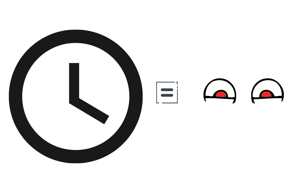 black clock with an equal sign and eyes