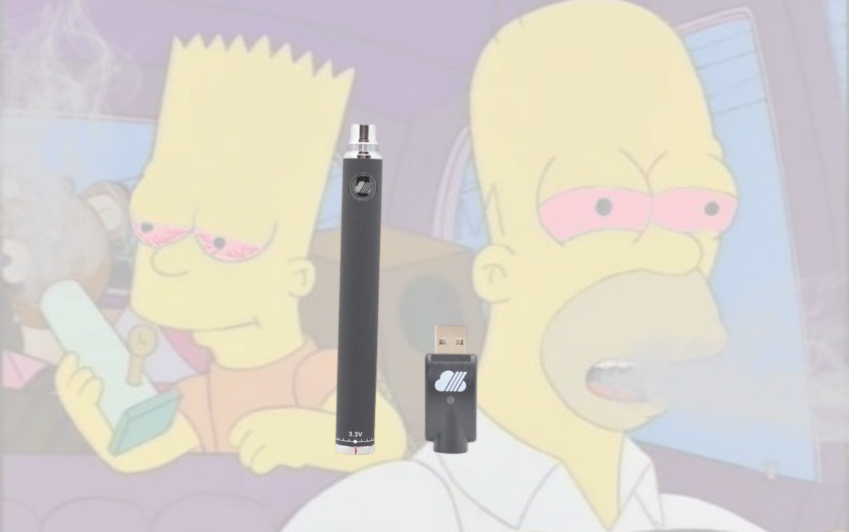 wax vape pen in the center of the image